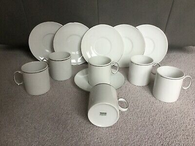 Thomas Medallion Porcelain White and Platinum Coffee Cups And Saucers x 6