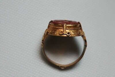 roman gold ring king with axe & tree old agate stone or 22k karat