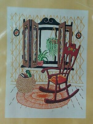 Sealed Vintage Vogart Crewel Creative Stitchery Kit ROCKING CHAIR Rug Plants Kit