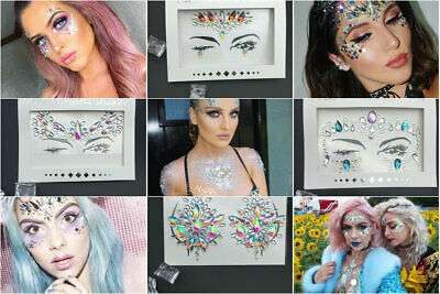 Festival Face Chest Crystal Gems Glitter Mermaid Adhesive Sticker Tattoo Make Up