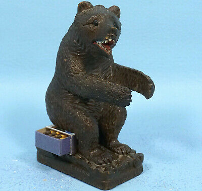 Antique Swiss Black Forest Wood Carving PIPE MATCHBOX HOLDER BEAR Tobacco c1900