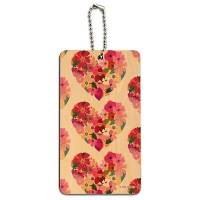 Love Flower Hearts Wood Luggage Card Suitcase Carry-On ID Tag