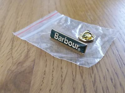 Genuine Barbour Pin Badge Green With Gold Writing