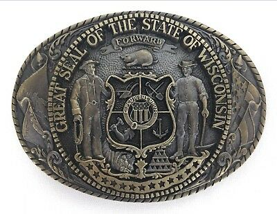 Wisconsin State Series First Edition Belt Buckle Tony Lama Oval Solid Brass