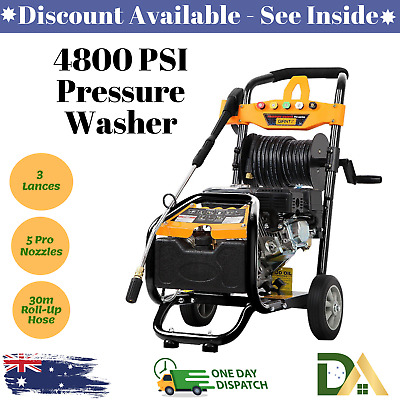 High Pressure Washer Water Gurney Cleaner Petrol 30m Hose Reel 3 Lance 4800psi