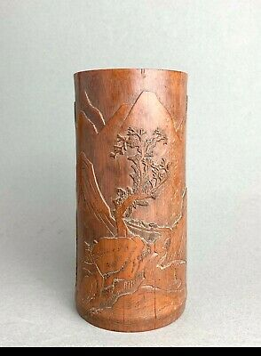 FINE 19th century CHINESE BAMBOO BRUSH POT with mountain landscape