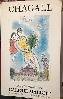 Original Gallery Poster Marc Chagall Man With Flowers 1981 Galerie Maeght