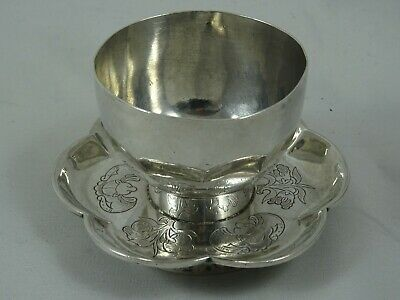 CHINESE EXPORT solid silver CUP & SAUCER, c1880, 73gm