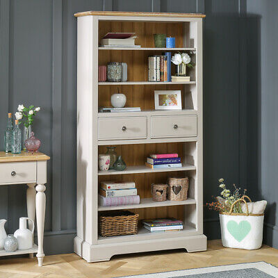Chatsworth Grey Painted Large Tall Bookcase with 2 Drawers - Furniture - GTY19