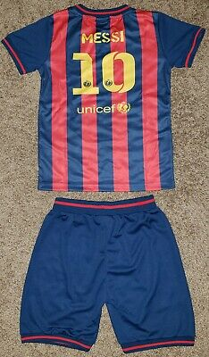 8e02c3616b5 New BARCELONA toddler kid baby boy girl camiseta jersey 2 piece set MESSI 10