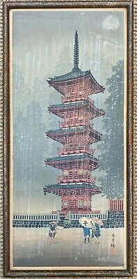 ANTIQUE Japanese WOODBLOCK PRINT in frame  2