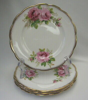 "4 Royal Albert Pink Roses American Beauty 7 1/8""  Dessert/Pie Plates"