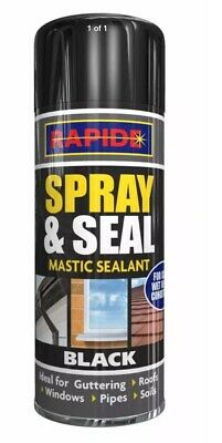 Two Black Spray N Seal Sealant In A Can For Pipes And Gutters Sheds