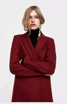 8167e006 ZARA BURGUNDY RED Masculine Wool Longline Coat SIZE S NEW WITH TAGS ...
