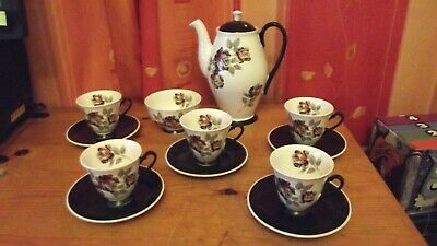 "Vintage Windsor Bone China ""Damask Rose"" Coffee Set 5 Cups & Saucers Coffee Pot."