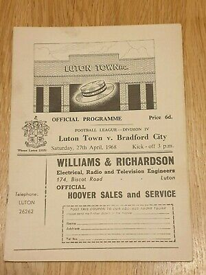 Luton Town v Bradford City - Football Programme - Season 1967/68