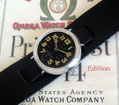 Old Rare Omega 1915 Officers Military Trench Men's Watch with Black Enamel Dial