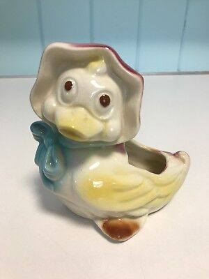 Vtg Ceramic Planter Vase 1950's DUCK w/ Bonnet AMERICAN BISQUE Shawnee Pottery