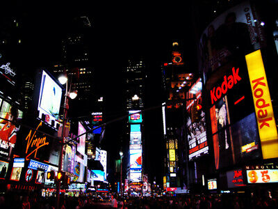 Times Square New York City NYC at Night Lights Signs Crowd 18 x 24 Poster Print