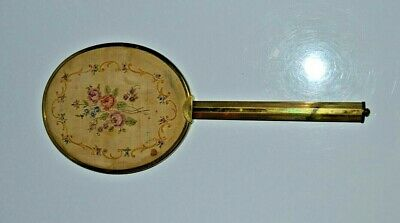 Antique Victorian Brass hand Mirror hand sewn petit point on silk on the back