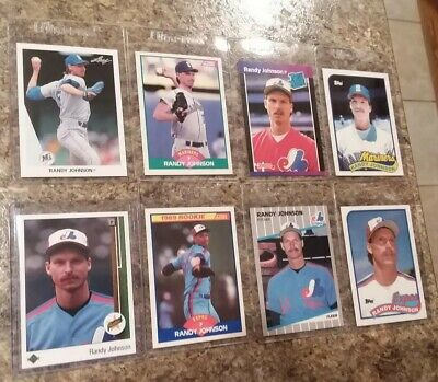 8 Randy Johnson Rookie Card Lot 1989 Upper Deck Score Fleer Topps 1990 Leaf Ud