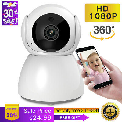 Wireless Pan Tilt Smart IP Network 1080p Two Way Audio Home Security Wifi Camera