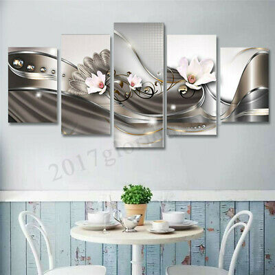 5Pcs Large Framed Abstract Flower Canvas Print Art Painting Wall Picture