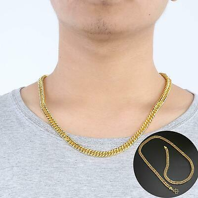 Fashion Men 18K Gold Plated Plating Necklace Luxury Copper Chain Jewellery Charm