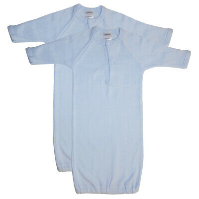 Baby Boy Gifts Infant Gowns PREEMIE Warm Long Sleeve Mitten Cuffs Blue - 2 Pack