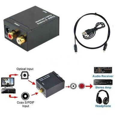 Optical Coaxial Toslink Digital to Analog Audio Converter Adapter RCA L/R US AT