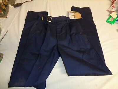 Vintage Girls Navy Blue Size 14 Slim Pleated Pants With Belt