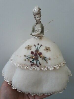Porcelain Reproduction Half Doll With Embroidered Dress