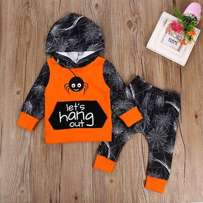 2pcs Toddler Infant Baby Boy Girls Hooded Sweater Tops+Pants Outfits Set Clothes