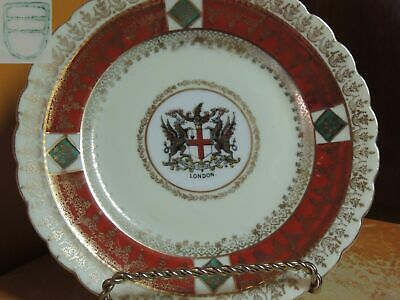 """Porcelain Plate 6"""" Hand Painted London Coat of Arms green Shield Beehive mark"""
