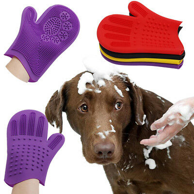 Pet Grooming Glove Brush Dog Cat Fur Hair Removal Mitt Massage Deshedding Brush