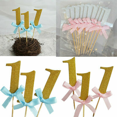 10Pcs First Birthday Cake Cupcake Topper 1st Party Decoration For Baby Boy Girl