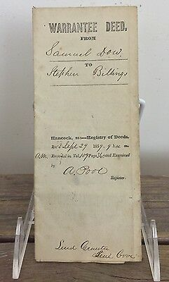 Antique 1859 Land Deed Sale Transfer Document Stephen Billings Tremont Maine