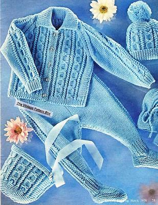 ARAN OUTFIT - 6 months to 4 years  / 8ply or DK - COPY baby knitting pattern