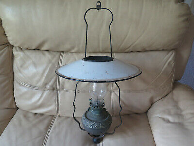 MILLER HANGING LAMP NEW JUNO No 1 MADE in USA COMPLETE with ENAMEL SHADE c1900s