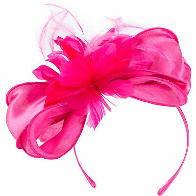 Pink Womens Flower Feather Headpiece Headband Fascinator Clip Royal Ascot T313