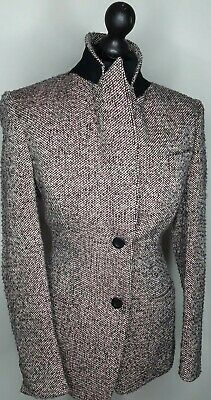 X2.6 Ex Marks and Spencer Per Una Double Breasted Coat Tweed Size 14 16 20