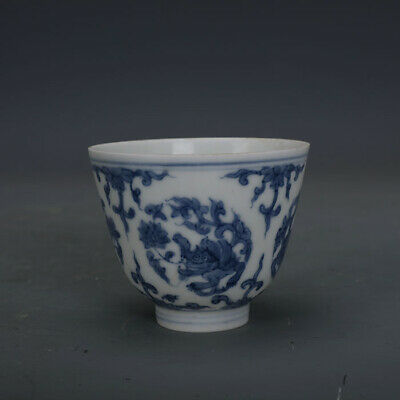 Ming chenghua mark China old Porcelain blue white Hand painting grass dragon cup