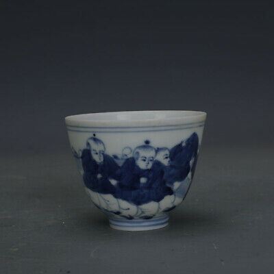 Ming chenghua mark China antique Porcelain blue white Hand painting Children cup