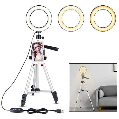 "5.7"" LED Ring Light Kit with Tripod Stand 5500K Dimmable for Makeup Phone Camera"