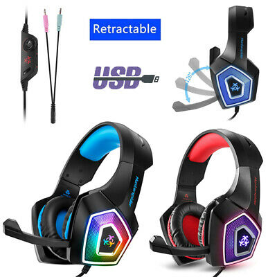 V1 USB 3.5mm Wired Gaming Headset Stereo Surround Headphone Mic for PS4 Laptop