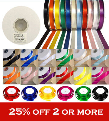 25 Metre Roll Of Satin Ribbon 6Mm 10Mm,15Mm Wedding, Christmas. Double,