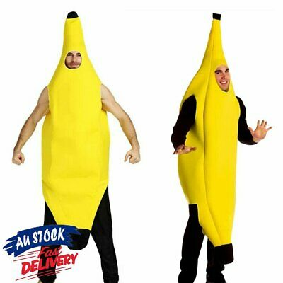 Adult Banana Body Suit Costume Unisex Outfit One Size Fits Halloween Fancy Dress