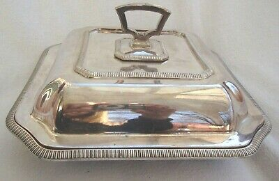 Antique Entree Dish Epns Silver Plated Three Piece Serving Tureen Bowl & Cover