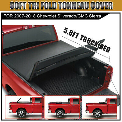 5 8 Pickup Trunk Bed Soft Tri Fold Tonneau Cover For 04 13