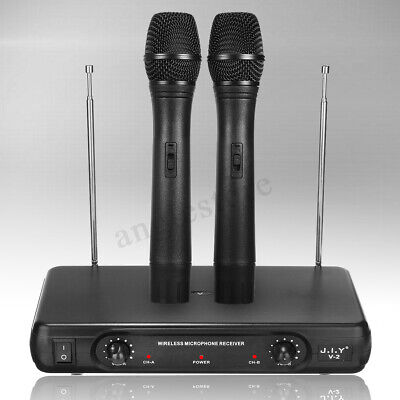 2Ch UHF Wireless Microphone System Dual Handheld Cordless Mic LCD Professional
